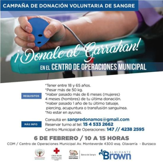 Campaña de donación de sangre este jueves en el Centro de Operaciones Municipal